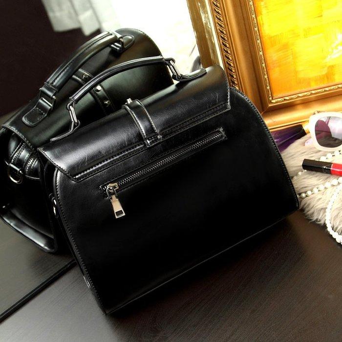 ~Linda~夏季歐美新款潮時尚女包朋克鉚釘包油蠟皮單肩手提斜跨大包包