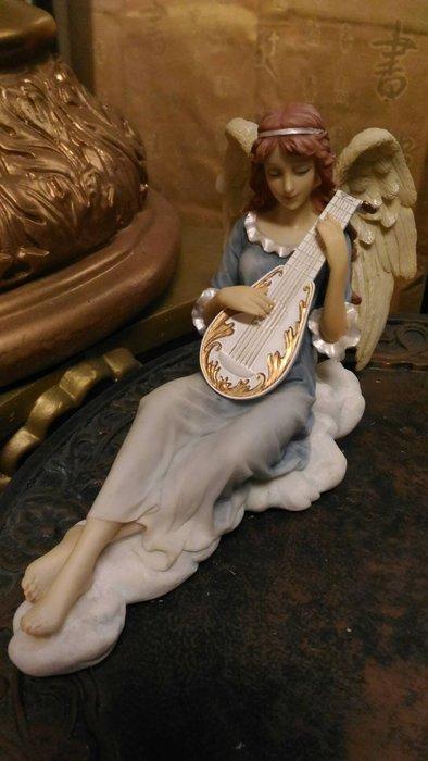 【預購品】設計家作品 手工彩繪-天使系列--雕像 擺飾]-西洋 天使彈詩琴