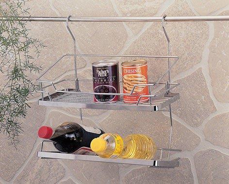 ☆成志金屬☆不鏽鋼調味料罐架S-400-2c,瓶罐架,廚房置物架,設計大方,掛桿可用