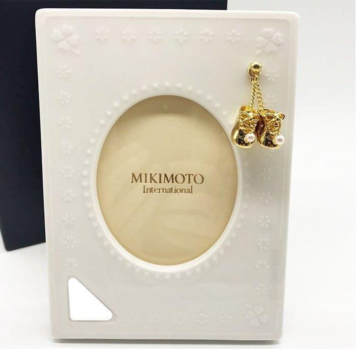MIKIMOTO 絕版精美珍珠金色小鞋相框