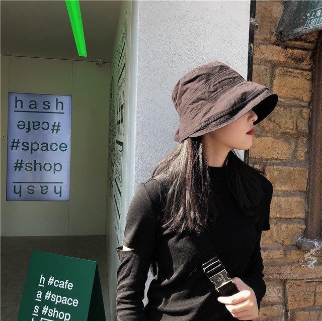 🙋夏現貨✨日系 女帽 女生遮陽帽 水洗棉 漁夫帽 遮陽帽 鬆緊 少女媽媽遮陽帽 防曬帽子 黑色卡其個性出遊露營 帽