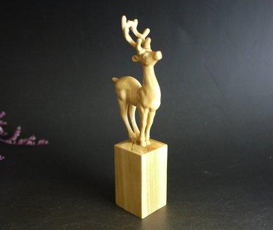 黃楊木 手工精雕 - 鹿 - 擺件 印章 把件 -.路路亨通 ..P2538