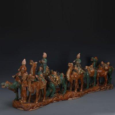 ㊣姥姥的寶藏㊣ 唐三彩絞胎雕塑瓷駱駝絲綢之路  文物古瓷器古玩古董復古收藏