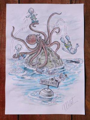 迪士尼 漫畫師 何塞瑪麗亞. 小米 (又名小米) 原創--唐老鴨和侄子在章魚水上樂園--