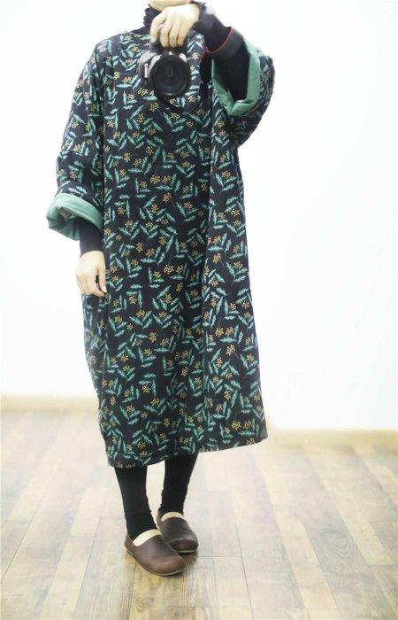 冬裝新款純棉印花夾綿寬鬆長袍(老銀屋)