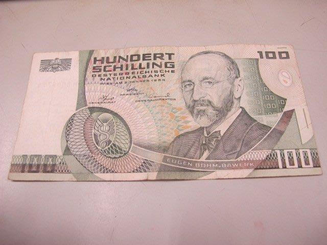 二手鋪 NO.440 Austria 奧地利 HUNDERT 100 Schilling 1984年
