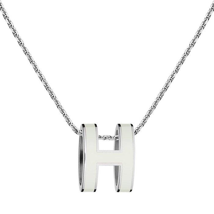 美國百分百【全新真品】Hermes 項鍊 愛馬仕 現貨在門市 墜鍊 logo 金屬 飾品配件 專櫃精品 白色 J907