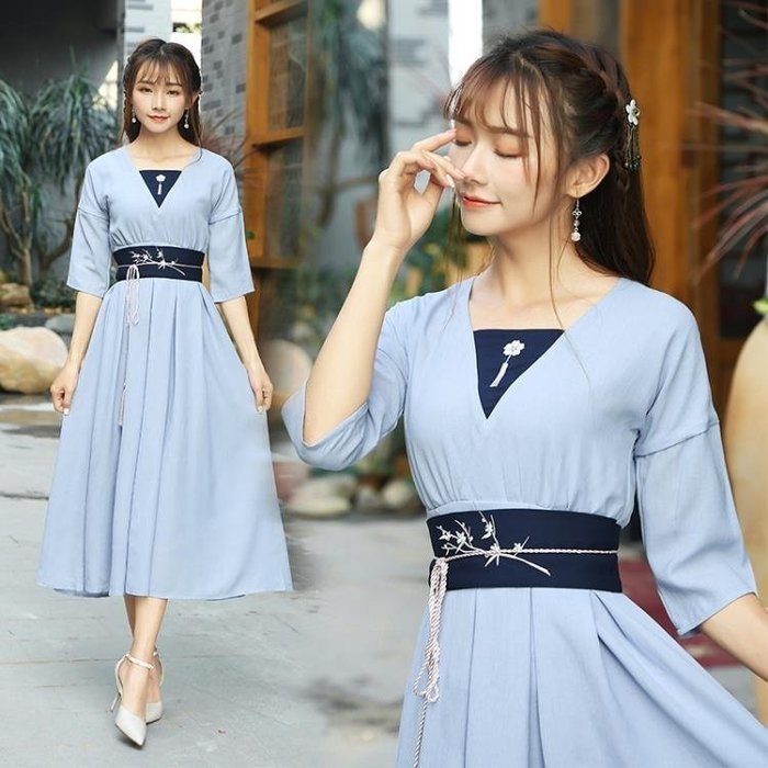 【免運】日常漢元素 洋裝 女裝落梅箋 腰封連身裙