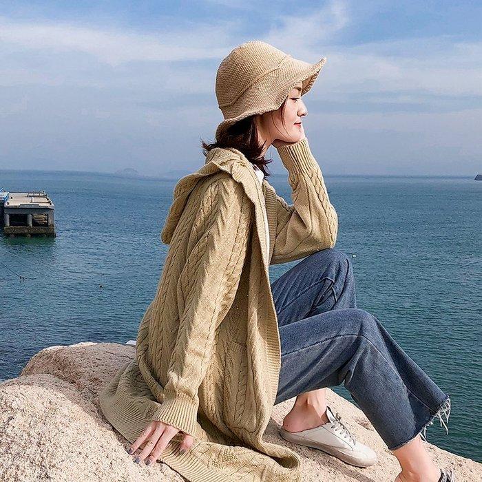 999外套 針織 開衫 休閒 復古 連帽毛衣外套女中長款韓版學生寬松加厚慵懶風針織衫開衫新款