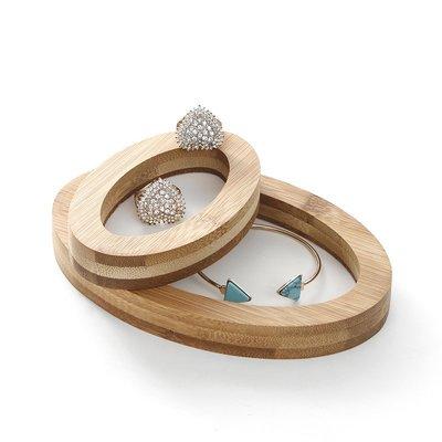hello小店-天然竹木簡約時尚項鏈手鐲托座橢圓兩件套珠寶玉器首飾展示架#飾品架#展示道具#