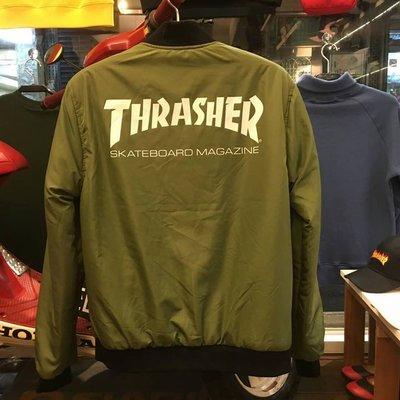 【YOYOGI PLUS】日本授權 THRASHER REVERSLBLE BOMBER JACKET 雙面穿外套