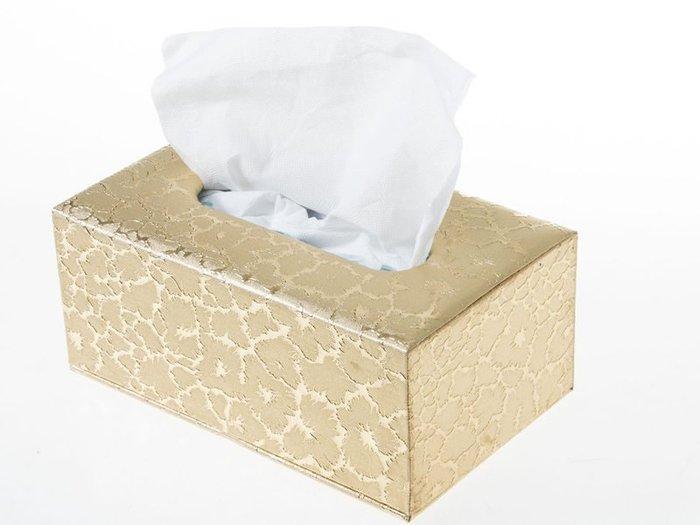 歐式抽取式面紙盒 皮革面料衛生紙盒 – 中 – 金閃電 ZA-42367
