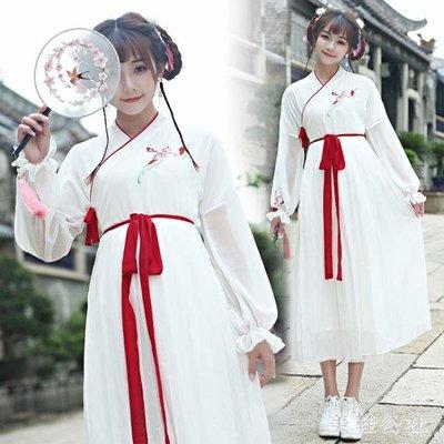 漢服 秋冬裝女改良學生漢元素襦裙日常中國風古裝櫻花洋裝 DJ2733