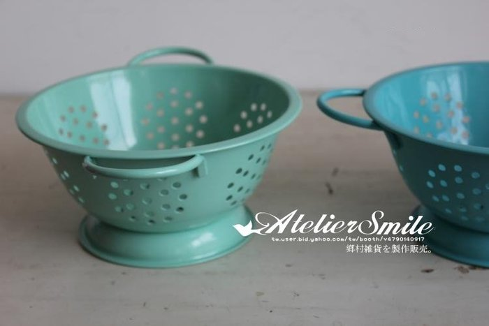 [ Atelier Smile ] 鄉村雜貨 復古作舊  繽紛馬卡龍色 搪瓷瀝水籃 三色選  (現+預)