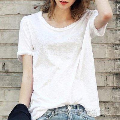 夏季棉麻女裝寬鬆白色內搭T恤竹節純棉女士短袖體恤半截袖上衣服