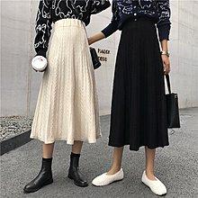 Freedom.~秋冬chic香港復古針織半身裙女中長款高腰加厚毛線裙子洋裝大擺A字裙