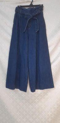 N516 韓國LOVELY LIVELY 藍色附腰帶 牛仔丹寧 高腰 顯瘦版寬褲 S號