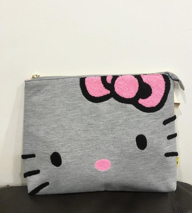 ^燕子部屋 ^ 三麗鷗正版 【Hello Kitty】可愛臉型手拿包 ipad包-灰色(特價)