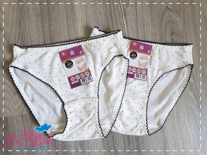 【貼身寶貝】.『3623』(一王美)台灣製~法式黑白圓點大女孩三角褲-(一組二件 少女中大童)