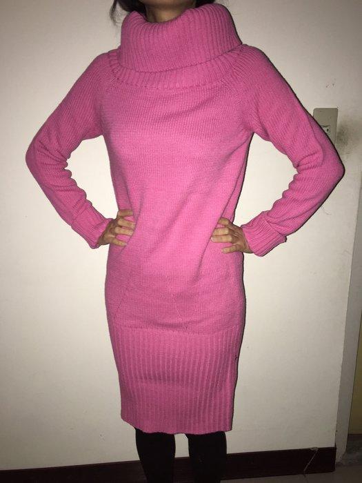 二手Vivi雜誌風-大翻領桃紅毛線連身洋裝(羅紋縮口針織洋裝/連身裙) 可面交