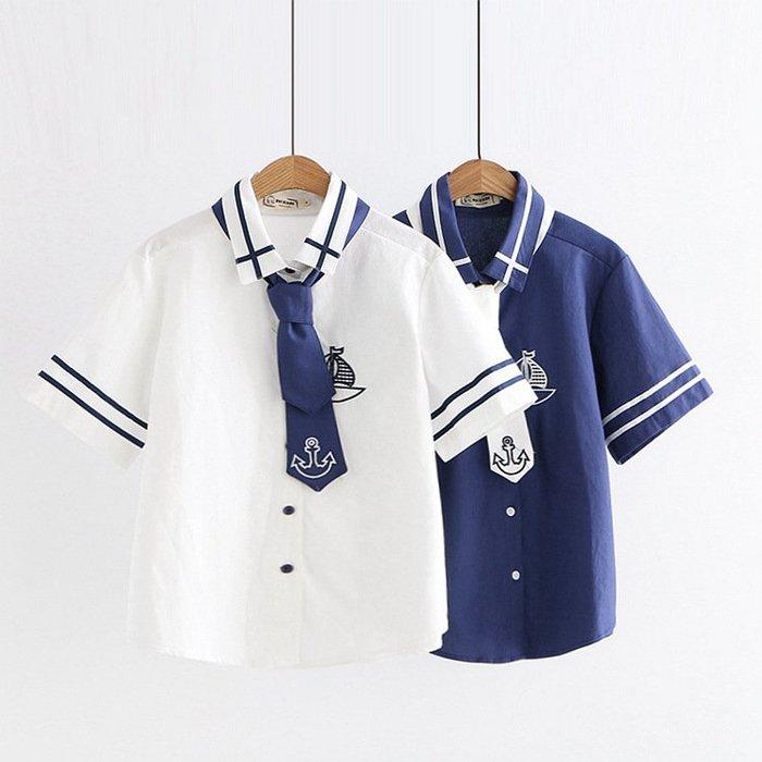 ☂ 糖糖 ☂ 海軍系列船錨刺繡領帶短袖襯衫-S19051814