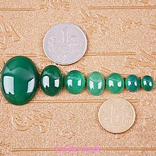 Little-luck~綠玉髓戒面蛋面裸石玉石多尺寸 水頭好起熒光戒指未鑲嵌裸石玉石