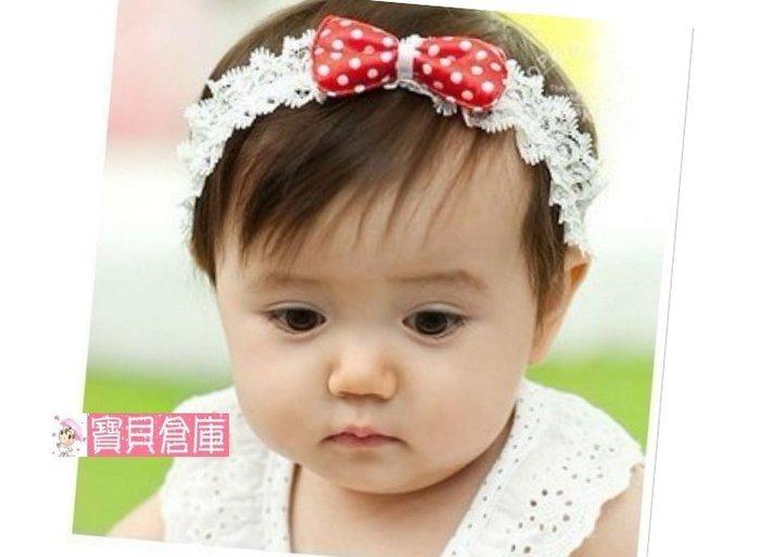 寶貝倉庫~韓版~寶寶圓點小蝴蝶結髮帶~嬰兒可愛蝴蝶結髮飾~幼兒髮飾~公主頭飾~拍照必備~兒童髮箍~紅.藍2色可選