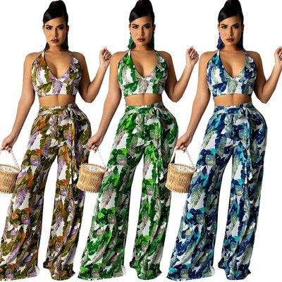 妮妮韓國服飾店~SMR wear by digital printing belt splicing two-piece outfit