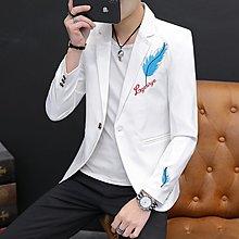 韓版西服 新款男士小西裝春裝修身刺繡花外套學生一粒扣西服秋上衣便服單西