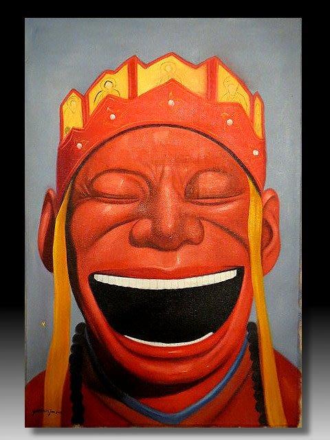 【 金王記拍寶網 】U1226  九O年代當代亞洲藝術家 岳敏君款 手繪油畫一張 ~ 罕見系列作品 稀少 藝術無價~