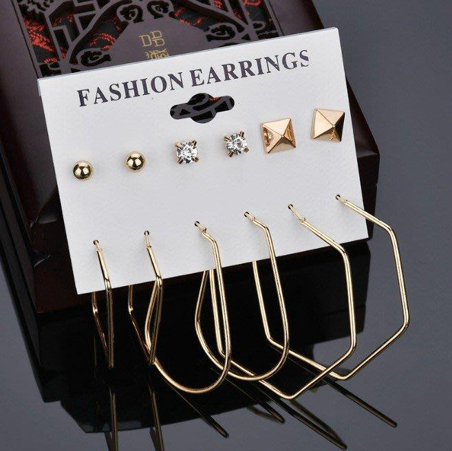 E-380 不退流行爆款幾何耳釘6對卡裝套裝耳釘