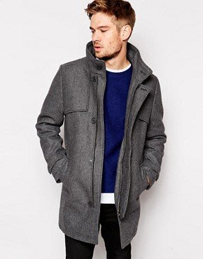 全新 Selected Wool Mix Overcoat With Detachable Hood