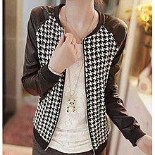 yes99buy加盟-衫 2014韓味潮流時尚修身PU皮拼接圓領長袖短外套開衫夾克(千鳥格)