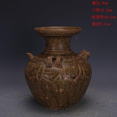 ㊣三顧茅廬㊣   漢代越窯青釉手工瓷雙系雞頭盤口瓶出土文物   古瓷器古玩復古收藏