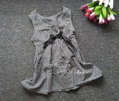 愛兒小舖#5-17號【SK705】前蝶結格子束腰麻紗洋裝~豐原可面交