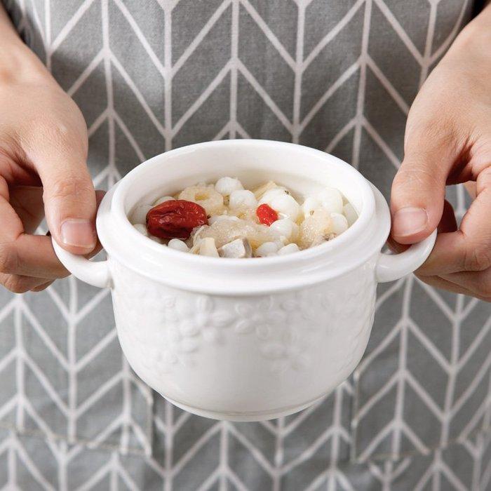 創意陶瓷骨瓷燉盅大小號隔水燕窩燉盅純白雙蓋湯盅微波爐耐熱送勺