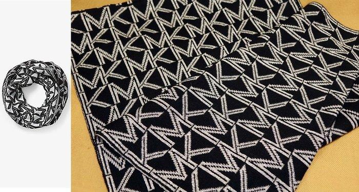 大降價!全新 Michael Kors MK 高質感金蔥黑白 LOGO 設計環狀圍巾!無底價!本商品免運費!