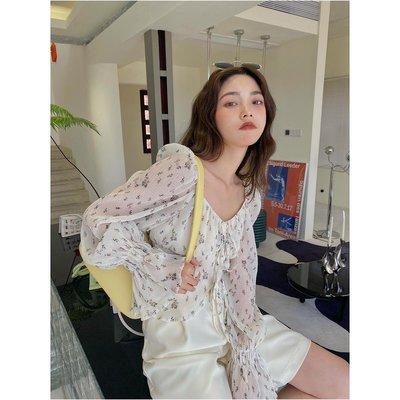 「麥可小屋」 ICELOLLY褶皺方領雪紡法式長袖防曬襯衫女夏別致設計感小眾上衣RY79