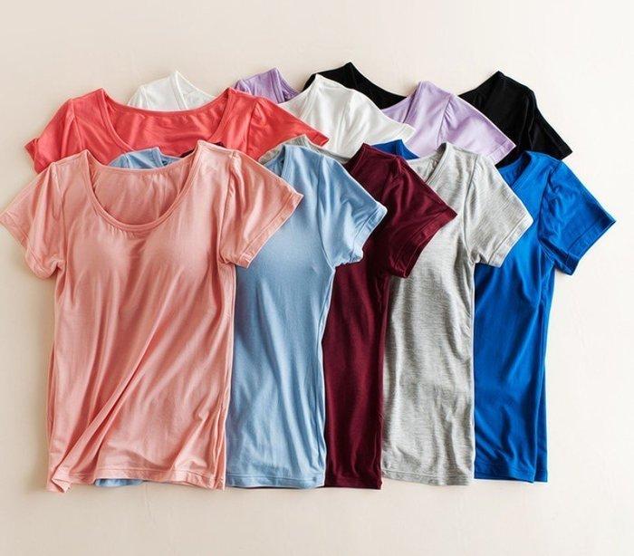 【Mi Ni】外單 帶胸墊短袖免文胸罩杯一體式半袖家居服T恤瑜伽運動外穿打底衫上衣~PG2901