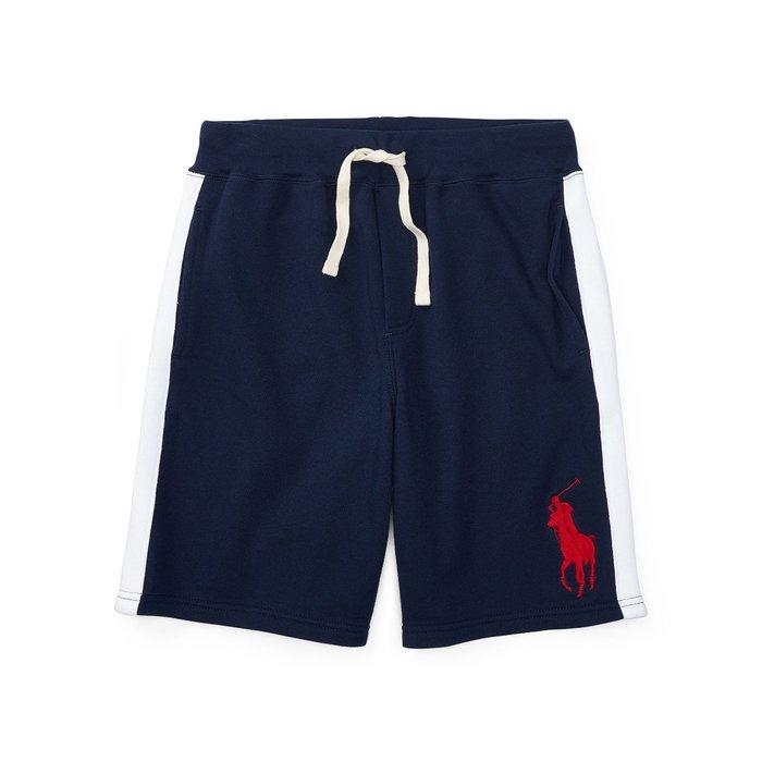 美國百分百【Ralph Lauren】棉褲 短褲 休閒褲 褲子 Polo RL 大馬 邊條 深藍 XS S號 I145