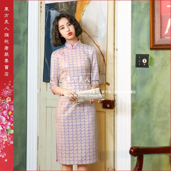 東方美人旗袍唐裝專賣店 ☆°((超低價899元))°☆ 027紫。燙金麂皮絨印花中國風時尚改良式七分袖中長旗袍洋裝
