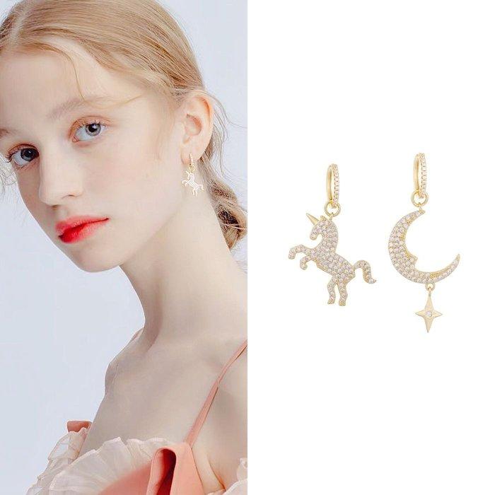💎1810、獨角獸月兒金鑲對稱雙易扣輕奢耳環💎  精品 耳環 輕奢飾品 正韓飾品 925純銀針