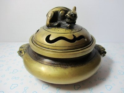 銅香爐 [中型30年老黃銅爐] 宣德雙獅聚財寶爐  薰香焚爐  擺件擺設  古玩古董
