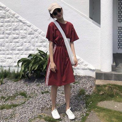 運動裙子原宿風女bf韓國ulzzang寬松酷體恤長裙bf00后學生學院風
