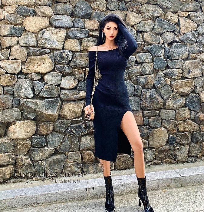 《仙杜瑞拉的衣櫃》sk1137 大圓領一字領兩穿式 性感開衩露腿 長袖針織連身裙