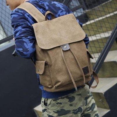 時尚潮流後背包男生書包電腦休閒帆布旅行李包背包桶   全館免運