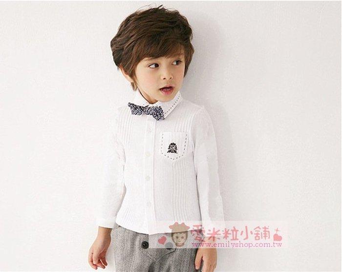 兒童長袖學院風條紋白色襯衫+領結 男花童 鋼琴演奏檢定 90-140碼 ☆愛米粒☆