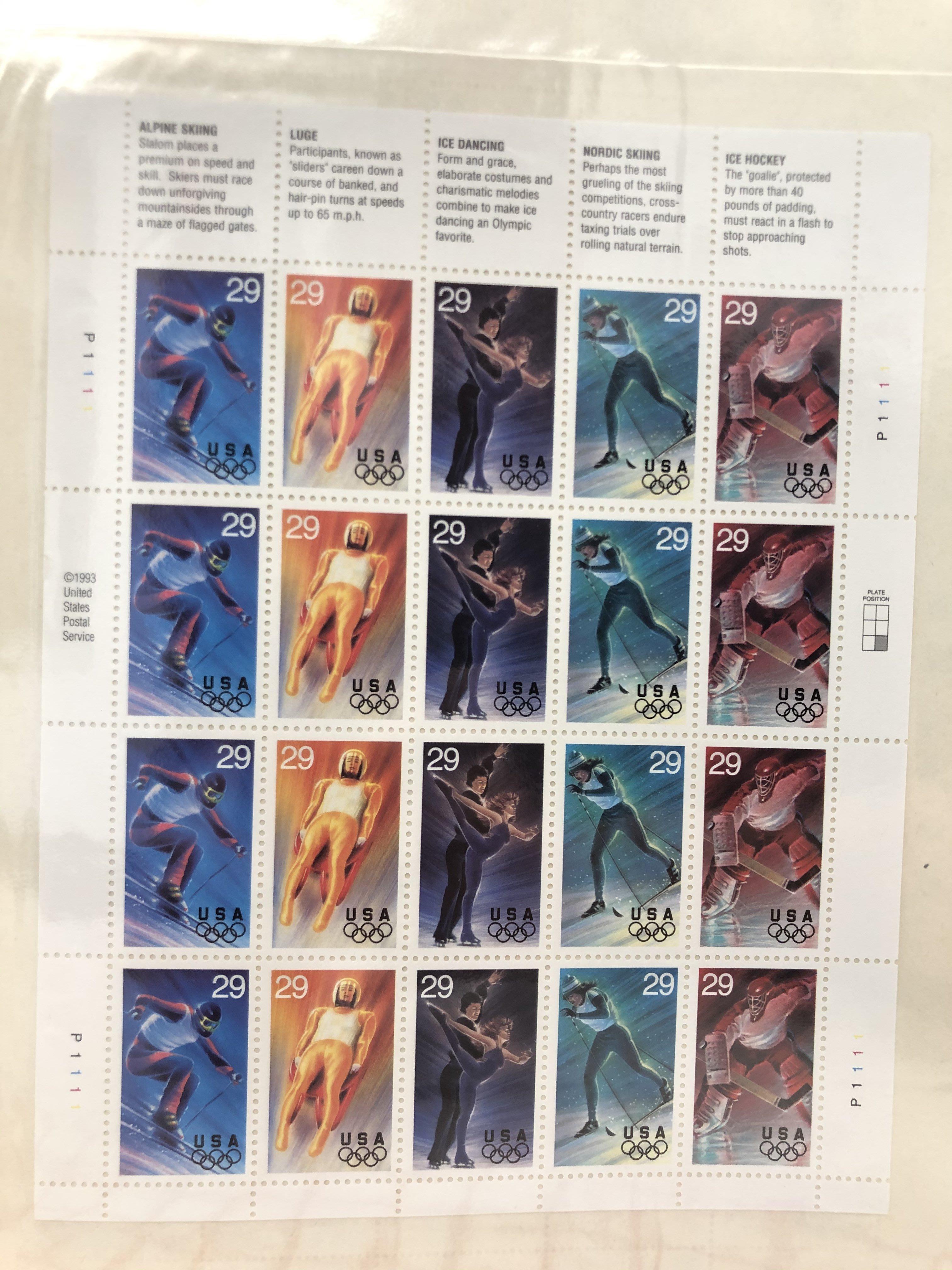 美國1993年冬季奧運會小版張,VF