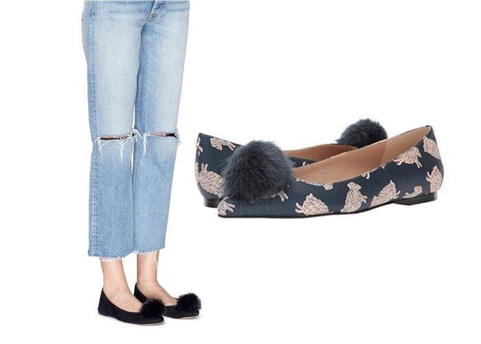 ◎美國代買◎Sam Edelman可愛棉羊印花/絲絨材質毛毛球裝飾平底芭蕾舞鞋~歐美街風~大尺碼
