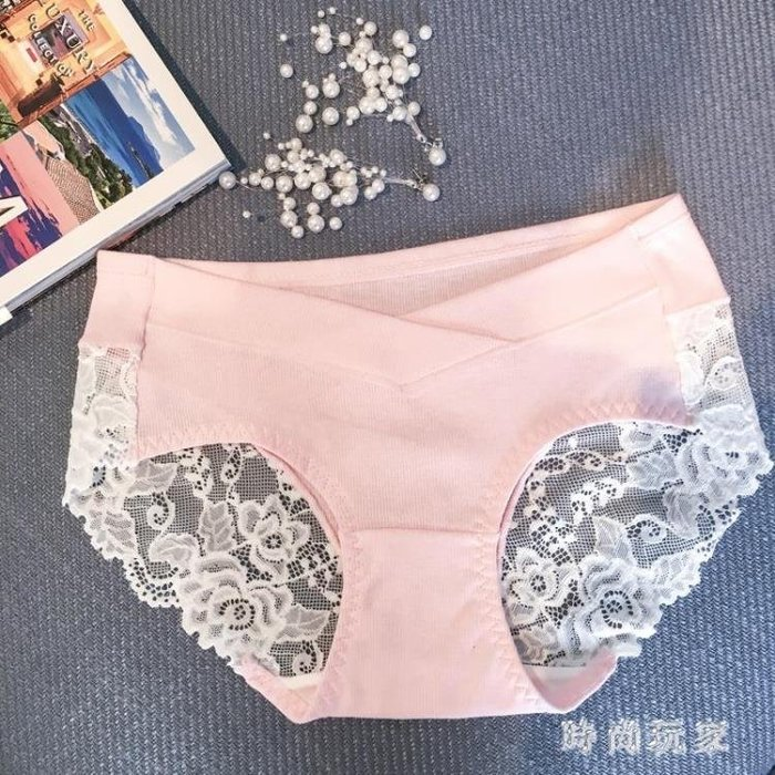 中大尺碼 孕婦內褲新款韓版蕾絲拼接透氣三角內褲 ZB871